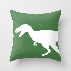 T- Rex Dinosaur Emerald Green  Throw Pillow by Aldari Art Studio - $20.00