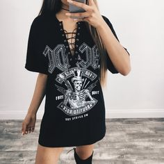 Obsessed with our new band tees lace up t-shirt dresses. Wearing size large, elsy is 5'8 <3 Sizes medium - extra large will fit as a t-shirt dress (depending