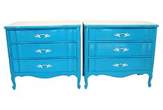 One Kings Lane - Vintage Palm Beach - French Turquoise Dressers, Pair. Love the funky color
