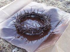 Crown of Thorns Centerpiece - Catholic Sistas grapevine wreath plus toothpicks plus hot glue plus spray paint!