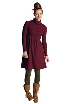 Must Have Turtle-Neck Long Sleeve Nursing Dress in Deep Cabernet by Mothers en vogue with free shipping