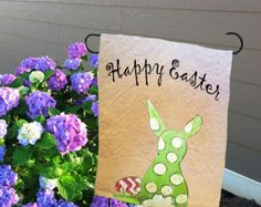Whimsical Easter, Easter Decorations, Spring Decorations, Accent Pillow, Indoor/Outdoor Cushion, Porch Cushion, Hand-painted, Pillow Cover  What a cute little bunny digging in the garden? Add a little whimsy to your holiday decorating. Pillow cover is hand-painted and is signed by the artisan. Pillow cover is 100% medium weight cotton canvas fabric. Easy accessible back overlaps to fit pillow insert. Designed to fit a 18 x 18 inch insert.  Coordinate with: https://www.etsy.com&...