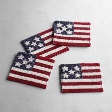 American Flag Beaded Coaster Set of 4