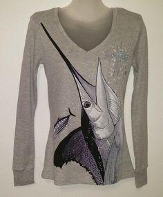 Guy Harvey Womans Gray Thermal Long Sleeve V Neck Shirt Blouse Size M Preppy #GuyHarvey #VNeckPullover #Casual