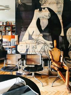 """though I definitely wouldn't have picked Picasso's """"Guernica,"""" a large-scale vinyl mural of an art reproduction seems like a good idea; relatively low-cost, but very high-impact (Ricardo Labougle) Decoration Inspiration, Interior Inspiration, Design Inspiration, Decor Ideas, Room Ideas, Room Inspiration, Bed Ideas, Interior Ideas, Tomie Ohtake"""