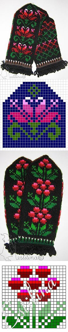 Inspiration for mittens Double Knitting Patterns, Knitted Mittens Pattern, Fair Isle Knitting Patterns, Knit Mittens, Knitting Charts, Knitted Gloves, Knitting Stitches, Knitting Socks, Hand Knitting