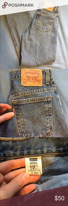 """Vintage 512 Levi's Vintage 512 Levi's. 6R S sizing. These are slim fit with a straight leg. Inseam 29"""", 11"""" rise. Please make an offer, but keep it respectful! I'm using Posh funds to pay for my Nursing Licensure and NCLEX prep. Thank you! 💙 Levi's Jeans Straight Leg"""