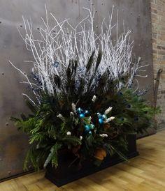 winter, decor, white, birch sticks, evergreens, magnolia leaves, peacock feathers, ornamental balls, window box, urban, garden, design, landscaping