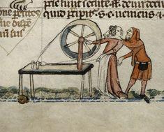 An amorous encounter; Smithfield Decretals (British Library, Royal 10 E. IV, fol. 147v), c. 1340