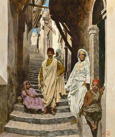 Peinture d'Algérie : Peintre Français, Jean-François ARRIGONI-NERI (Né en 1937), Huile sur carton, Titre: Scène de rue de la Casbah.