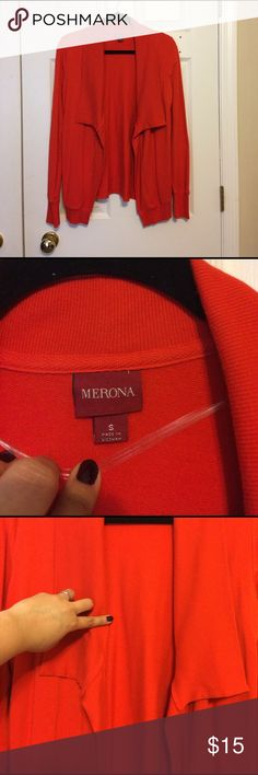 Women's Merona Draped Open Cardigan Orange sz S Women's Merona Draped Open Cardigan Color Orange size Small. In excellent conditions only it have a little pull tread inside please check pictures. Merona Sweaters Cardigans