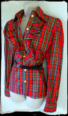Vintage 1970s Tartan Blouse Tuxedo Shirt Top Plaid Gold Metallic Ruffles Steampunk Victorian Red Green Medium Large Western. $12.00, via Etsy.