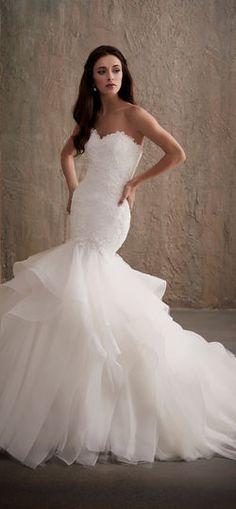 Featured Wedding Dress: Adrianna Papell Platinum; www.adriannapapell.com; Wedding dress idea.