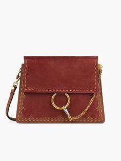 Tan suede and calfskin Faye shoulder bag with stud embellishment from our Festive selection
