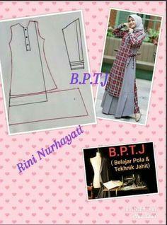 Long Dress Patterns, Dress Sewing Patterns, Sewing Patterns Free, Sewing Tutorials, Clothing Patterns, Abaya Fashion, Muslim Fashion, Abaya Pattern, Kebaya Muslim