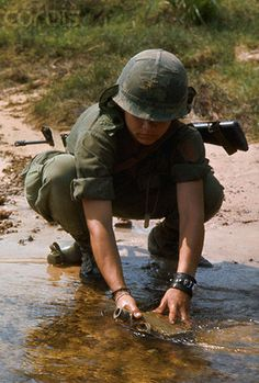 Getting water for the trip to the Michelin Plantation Vietnam 1969. #VietnamMemories