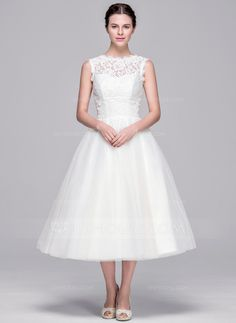 A-Line/Princess Sweetheart Tea-Length Zipper Up Covered Button Strapless Sleeveless Hall Reception General Plus Yes Spring Summer Fall Ivory Tulle Lace Wedding Dress