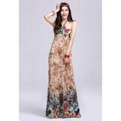 $5.93 Greek Style Halter Neck Plants Print Sleeveless Saggy Design Maxi Dress For Women My Style | Big Fashion Show designer maxi dresses