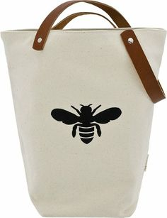 ≗ The Bee's Reverie ≗ Apple and Bee Canvas Bucket Bee Tote