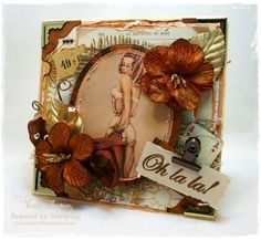 I've used Inspired by Stampings new Oh la la! stamp from the Big Notes in French set on this vintage pin-up greeting card. I used the IBS You're wonderful sentiment from the Big Treasures set on the inside. They're both perfect for this card.