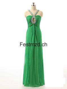 Grün Kristalle Strass Lang Abendkleider