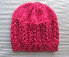 Free Knitting Pattern Red Hat in Double Eyelet Rib Stitch in Size Adult by Elena Chen