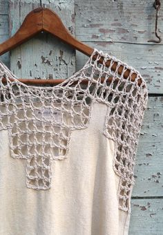 Items similar to SALE - Raw Silk Crochet Lace Dress, Naturally Dyed with Chestnut Bark on Etsy - Knitting Crochet Yoke, Crochet Lace Dress, Crochet Fabric, Crochet Blouse, Crochet Clothes, Diy Clothes, Lace Patterns, Crochet Patterns, Crochet Tutorials