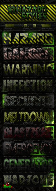 10 Hazard Text Styles by Docty 10 Hazard Text StylesPack Hazard Text Styles Single layer design ASL File Photoshop Text Effects, Photoshop Actions, Navy Military, Logo Design, Graphic Design, Text Style, Layers Design, Logos, City Photo