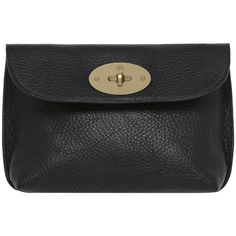Locked Cosmetic Purse Black Natural Leather With Brass ($310) ❤ liked on Polyvore featuring bags, handbags, clutches, accessories, purses, leather handbags, leather clutches, black leather clutches, black leather handbags and real leather handbags