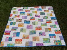 Bright Flower Lap Quilt by Quiltsbyma on Etsy