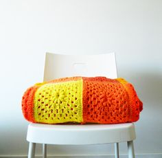 Bright Neon Orange, Yellow and Coral Blanket