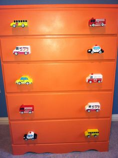 DIY-dresser knobs- from toy wooden cars. Cute idea for someone with boys!