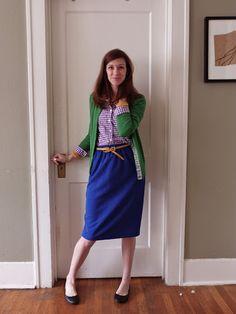 blue skirt, purple gingham, green cardigan
