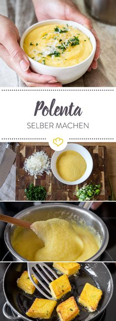 Creamy for spooning or crispy roasted - Polenta is a real ki . - Go Veggie! - Vegetarische Rezepte - Care Your Health Crispy Polenta, Polenta Fries, How To Cook Polenta, Bbq Catering, Go Veggie, Healthy Recipes, Grilling Recipes, Cooking Recipes, Side Dishes