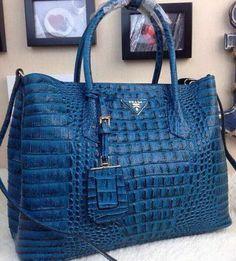 Prada Croco Leather Tote Bag BN2756 Blue 72e7c92e26d55