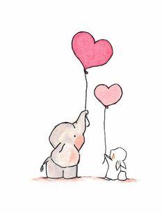 Fliegende Herzen Pink we archival print 8 x 10 - Diy Papier & Origami Cute Easy Drawings, Cute Animal Drawings, Kawaii Drawings, Cartoon Drawings, Illustration Inspiration, Art Inspiration Drawing, Inspiration Wall, Illustration Fashion, Elephant Balloon