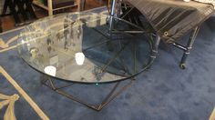 "DAVID DUNCAN // Round American Coffee Table with Iron Frame // 16.75""h x 41""d // available immediately // $5200 // available for rent @ approx. 15% // db *** Size needs to be Double checked in plan. New Treatment of table top needed, instead of glass***"