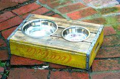 genius! dog bowl holder @Bill Burlingame