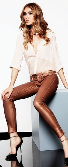Miss Millionairess:  Street Style - Simple Chic Brown Guess leather pants!!