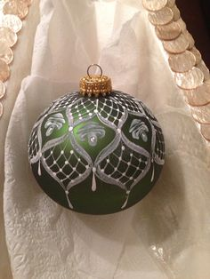 Medium Hand painted Lace & roses Christmas Ornament. Fern green