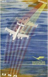 Abeking, T. (Deutsche Lufthansa - Deutschland USA) 58 Deutsche Lufthansa - Deutschland USA Deutsche Lufthansa AG, Frankfurt a. Main. Entwurf Theodor Abeking, Deutschland 1955. Druckvermerk: Wbg. 017 5 55 OL. Größe 100,8 x 63 cm.