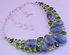 free shipping F-121 Stunning Eudialyte-Peridot .925 Silver Handmade Necklace Jewelry by SILVERHUT on Etsy