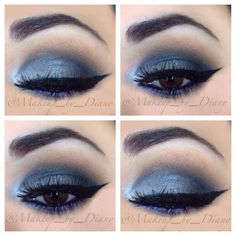 Shades of blue, gray, and silver eye makeup provide an intense smoky eye makeup that's perfect for night and formal events.