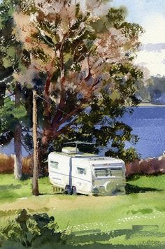 Marrowstone Manor by Mike Kowalski Watercolor ~ 12 x 8