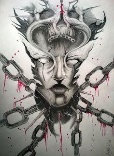 Título: La maldad encadenada Autor: Israel Manjarrez Técnica: Lápiz de grafito y tinta