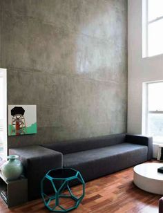 Large Polished Concrete Feature Wall Looks Amazing When Placed Next To A  Large Window