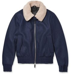 #STYLE // AMI Shearling-Collar Wool-Blend Bomber Jacket //