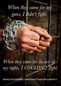 When they came for my guns I said nothing. When they came for the rest of my rights, I COULDN'T fight.