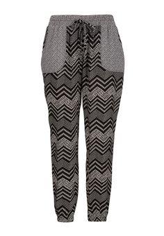 Chevron and floral print jogger pants