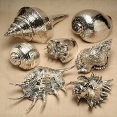 You can make this! Spray paint large sea shells with silver paint and clear high…